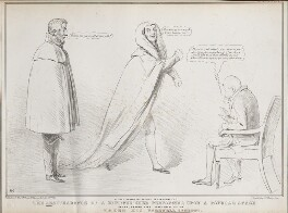 A Peep Behind the Scenes Preparatory to the Reappearance of a Distinguished Performer upon a Popular Stage, by John ('HB') Doyle, published by  Alfred Ducôte, after  Thomas McLean - NPG D41174