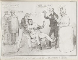 Administering a Bitter Dose to a Fractious Patient, by John ('HB') Doyle, printed by  Alfred Ducôte, published by  Thomas McLean - NPG D41179