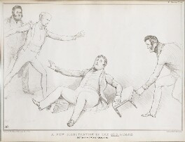 A New Illustration of the Old Adage Between Two Stools &c., by John ('HB') Doyle, printed by  Alfred Ducôte, published by  Thomas McLean, published 18 May 1833 - NPG D41196 - © National Portrait Gallery, London