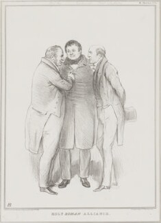 Holy Roman Alliance (Thomas Langlois Lefroy; Daniel O'Connell; Sir Robert Harry Inglis, 2nd Bt), by John ('HB') Doyle, printed by  Alfred Ducôte, published by  Thomas McLean - NPG D41209