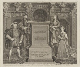 King Henry VIII; King Henry VII; Elizabeth of York; Jane Seymour, by George Vertue, after  Remigius van Leemput, after  Hans Holbein the Younger - NPG D42238
