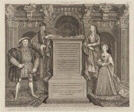 King Henry VIII; King Henry VII; Elizabeth of York; Jane Seymour, by George Vertue, after  Remigius van Leemput, after  Hans Holbein the Younger, 1737 - NPG D42238 - © National Portrait Gallery, London