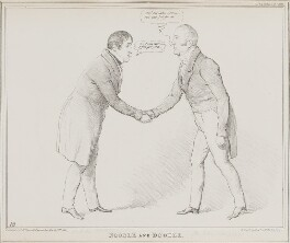 Noodle and Doodle (John Cam Hobhouse, Baron Broughton de Gyfford; John Campbell, 1st Baron Campbell of St Andrews), by John ('HB') Doyle, printed by  Alfred Ducôte, published by  Thomas McLean - NPG D41243