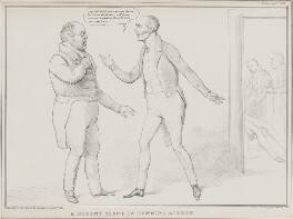 A Recent Scene in Downing Street (Thomas Law Hodges; Charles Grey, 2nd Earl Grey; Martin), by John ('HB') Doyle, printed by  Alfred Ducôte, published by  Thomas McLean - NPG D41244