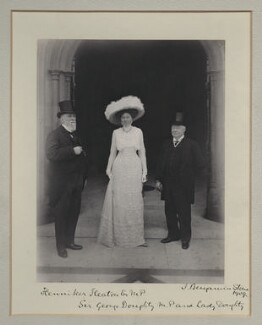 Sir John Henniker Heaton, 1st Bt; Eugenia Bertuance (née Stone), Lady Doughty; Sir George Doughty, by Benjamin Stone - NPG x135512