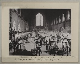 'Westminster Hall prepared for lunch for the Inter-Parliamentary Conference', by Benjamin Stone - NPG x135540