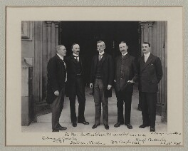 Sir Edmund William Gosse; Sir Evan Charteris; Oliver Wendell Holmes Jr; William Archer; (Arthur) Hugh Montagu Butler, by Sir (John) Benjamin Stone, 18 July 1907 - NPG x135549 - © National Portrait Gallery, London