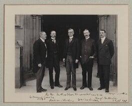 Sir Edmund William Gosse; Sir Evan Charteris; Oliver Wendell Holmes Jr; William Archer; (Arthur) Hugh Montagu Butler, by Sir (John) Benjamin Stone, 18 July 1907 - NPG x135549 - © National Portrait Gallery, London