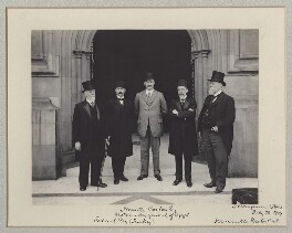 Mehmed Talat Pasha, Neville Travers Borton and Sir John Henniker Heaton, 1st Bt with two other Turkish delegates, by Benjamin Stone - NPG x135593