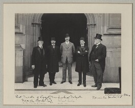 Mehmed Talat Pasha, Neville Travers Borton and Sir John Henniker Heaton, 1st Bt with two other Turkish delegates, by Benjamin Stone - NPG x135594