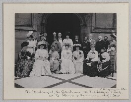 The Maharaja and Maharani of Baroda and party on the Terrace of the House of Commons, by Benjamin Stone - NPG x135610