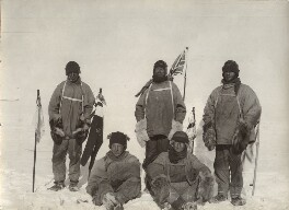 'The Polar Party at the South Pole' (Lawrence Oates; Birdie Bowers; Robert Falcon Scott; Edward Adrian Wilson; Edgar Evans), by Henry Robertson ('Birdie') Bowers, added to by  Herbert George Ponting - NPG x135720