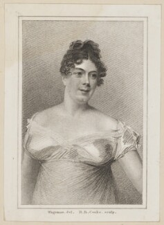 Julia Glover (née Betterton) as Mrs Oakley in Colman's 'The Jealous Wife', by Henry Richard Cook, published by  Simpkin and Marshall, after  Thomas Charles Wageman - NPG D38653