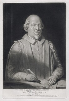 William Shakespeare, by William Ward, published by  John Britton, after  Thomas Phillips, after  George Bullock, after  Gerard Johnson - NPG D42286