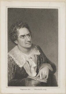 Edmund Kean as Hamlet, by Thomas Woolnoth, published by  Simpkin and Marshall, after  Thomas Charles Wageman - NPG D38663