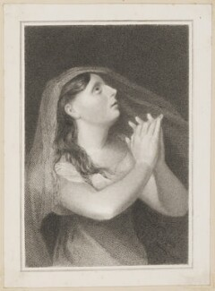 Sarah West (née Cooke) as Cordelia in 'King Lear', by Thomas Woolnoth, published by  Simpkin and Marshall, after  Thomas Charles Wageman - NPG D38666