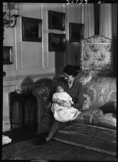 Priscilla Crystal Frances Blundell Coriat (née Weigall, formerly Viscountess Curzon) with her daughter, by Bassano Ltd - NPG x157660