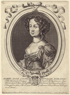 Queen Mary II, by Nicolas de Larmessin, published by  Pierre Bertrand, after  Sir Peter Lely - NPG D42307