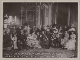 Royal group in the Crimson Drawing-Room at Windsor Castle, by Percy Lewis Pocock, for  W. & D. Downey, published by  Rotary Photographic Co Ltd, 17 November 1907 - NPG x135923 - © National Portrait Gallery, London