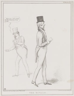 The Rivals (John Liston; George William Frederick Howard, 7th Earl of Carlisle), by John ('HB') Doyle, printed by  Alfred Ducôte, published by  Thomas McLean - NPG D41359
