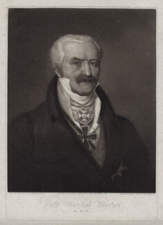 Gebhard Leberecht von Blücher, by Thomas Hodgetts, published by  Colnaghi & Co, after  John Boaden, after  Muller - NPG D42359