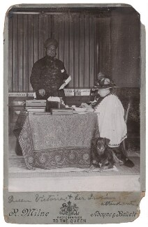 Hafiz Abdul Karim; Queen Victoria with her dog Noble, by Robert Milne - NPG x136331