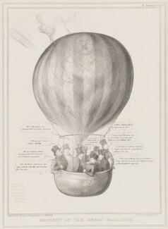 Descent of the Great Balloon, by John ('HB') Doyle, printed by  Alfred Ducôte, published by  Thomas McLean, published 22 October 1836 - NPG D41387 - © National Portrait Gallery, London