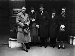 Clifford Lely Mollison; (Elsie) Evelyn Laye; Sir Gerald Du Maurier; Nelson Keep; Gertrude Lawrence, by George Woodbine, for  Daily Herald - NPG x136412