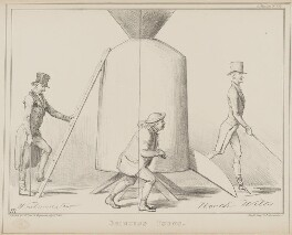 Grinding Young (Sir Francis Burdett, 5th Bt; John Bull), by John ('HB') Doyle, printed by  Alfred Ducôte, published by  Thomas McLean - NPG D41427