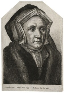 Lady Margaret Butts (née Bacon), by Wenceslaus Hollar, published by  Adam Alexius Bierling, after  Hans Holbein the Younger - NPG D42486