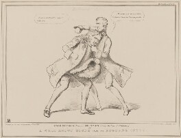 Good Breeding versus Education (William Lamb, 2nd Viscount Melbourne; Henry Brougham, 1st Baron Brougham and Vaux), by John ('HB') Doyle, printed by  Alfred Ducôte, published by  Thomas McLean - NPG D41443