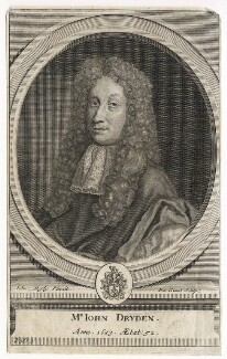 John Dryden, by Pieter Stevens van Gunst, after  John Riley, circa 1709 (1683) - NPG D42576 - © National Portrait Gallery, London