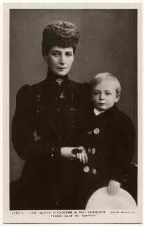 Queen Alexandra; Olav V, King of Norway, published by Rotary Photographic Co Ltd - NPG x136650