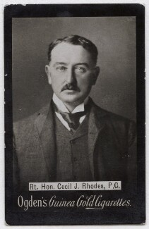 Cecil John Rhodes, by James Russell & Sons, published by  Ogden's, circa 1880s, published circa 1894-1907 - NPG x136657 - © National Portrait Gallery, London