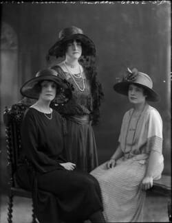 Olga Eyre; Alice Mary (née Eyre), Countess of Gainsborough; Edith Eyre, by Bassano Ltd - NPG x37297