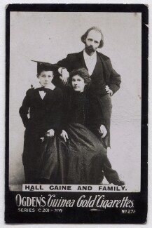 'Hall Caine and family' (Mary Alice (née Chandler), Lady Caine and Sir (Thomas Henry) Hall Caine with their son), published by Ogden's - NPG x136688