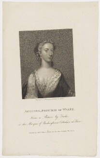 Augusta of Saxe-Gotha, Princess of Wales, by Charles Picart, drawn by  Gardner, published by  T. Cadell & W. Davies, after  Christian Friedrich Zincke, published 1807 - NPG D42594 - © National Portrait Gallery, London