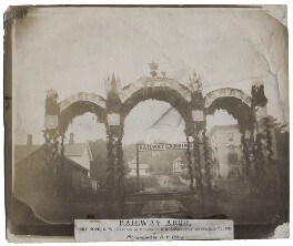 'Railway Arch, Port Hope, C.W., erected in honour of H.R.H. Prince of Wales', by Ebenezer Elijah Henry - NPG x136866