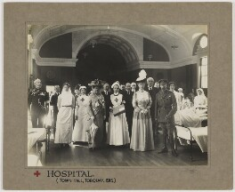 King George V and Queen Mary visiting the Red Cross War Hospital, Torquay, by Dinham & Sons - NPG x136886