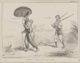 Robinson Crusoe and his Man Friday (Henry George Grey, 3rd Earl Grey; Charles Wood, 1st Viscount Halifax), by John ('HB') Doyle, printed by  Alfred Ducôte, published by  Thomas McLean, published 3 June 1840 - NPG D41575 - © National Portrait Gallery, London