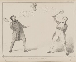 The Shuttlecock Ministry (Daniel O'Connell; Sir Robert Peel, 2nd Bt), by John ('HB') Doyle, printed by  Alfred Ducôte, published by  Thomas McLean, published 7 August 1840 - NPG D41583 - © National Portrait Gallery, London