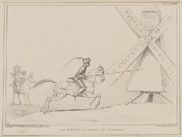 Don Quixote Attacking the Windmill, by John ('HB') Doyle, printed by  Alfred Ducôte, published by  Thomas McLean - NPG D41593