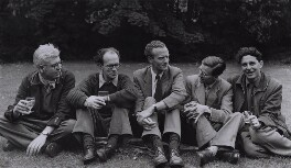 David John Murray Wright; Anthony Cronin; John Clive ('J.C.') Hall; John Smith; Dannie Abse, by Rollie McKenna - NPG x137190