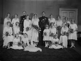 Ruby Erskine (née de la Rue), Sir George Watkin Eben James Erskine and wedding party, by Lafayette - NPG x137278