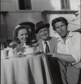 Phyllis Calvert, Tullio CarminatI and Michael Rennie during the filming of 'The Golden Madonna', by Francis Goodman - NPG x195056