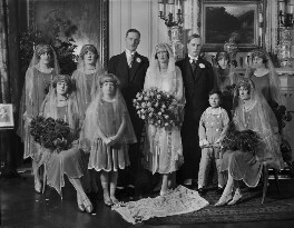 William Basil Wilberforce, Cecilia Mary Margaret Wilberforce (née Dormer) and wedding party, by Lafayette (Lafayette Ltd), 24 November 1926 - NPG x184549 - © National Portrait Gallery, London