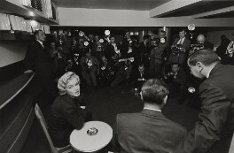 Marilyn Monroe; Laurence Kerr Olivier, Baron Olivier (Press Conference at The Savoy Hotel), by Larry Burrows - NPG x137340