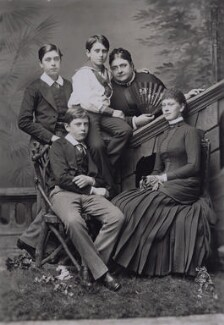 Queen Mary with her mother and brothers, by Alexander Bassano, circa 1884 - NPG x137450 - © National Portrait Gallery, London