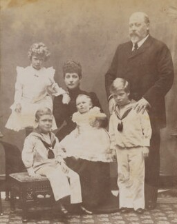 King Edward VII and Queen Alexandra with the four children of the Duke and Duchess of Cornwall & York, by Frederick William Ralph - NPG P1700(57a)
