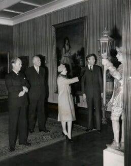 Kenneth Clark, Baron Clark; Queen Elizabeth II; Anthony Blunt, by Press Association Photos, 19 February 1959 - NPG  - © Press Association Images
